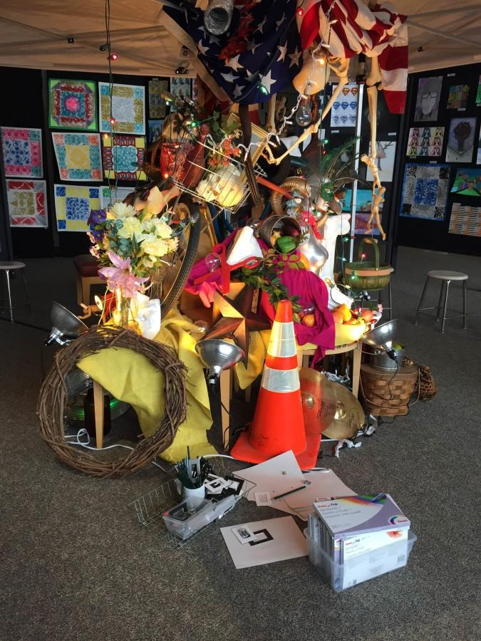 An interpretive art sculpture produced by the arts classes.
