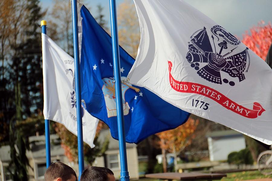 Flags wave at the 2015 Veterans Day Parade in downtown Arlington.