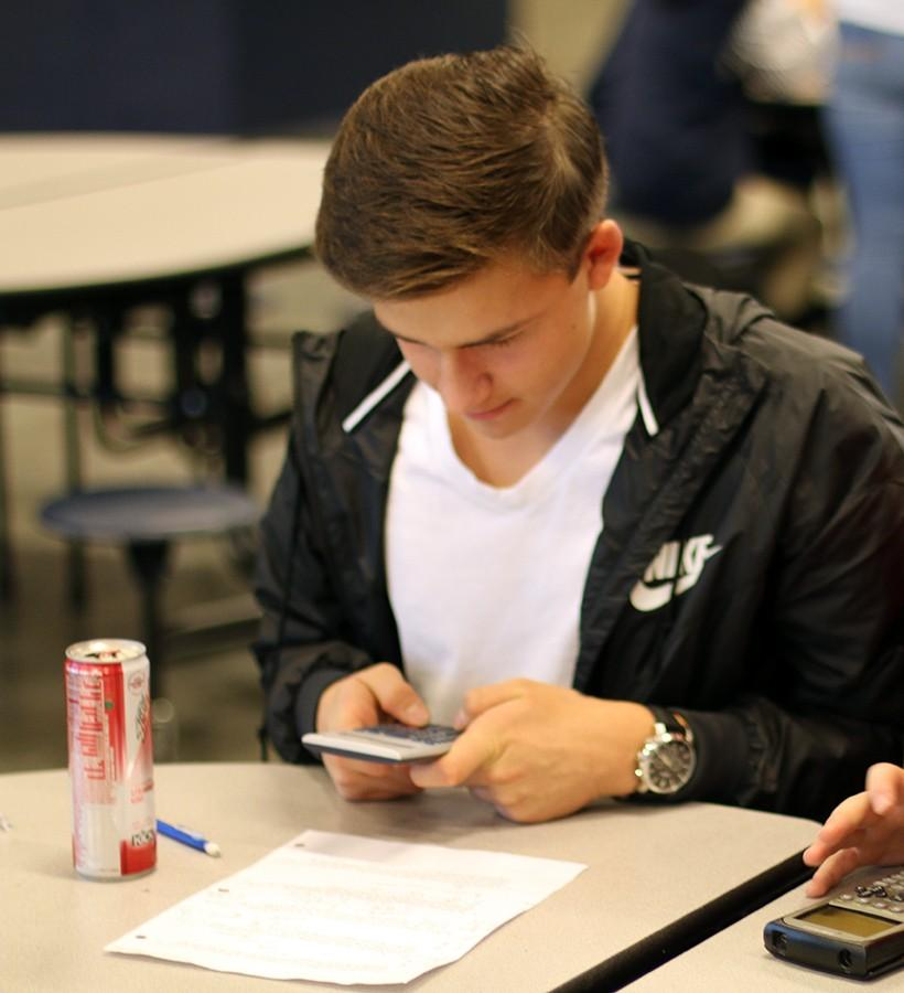 Multilingual student Edward Radion ('17) prepares for a Knowledge Bowl meet on November 16th.