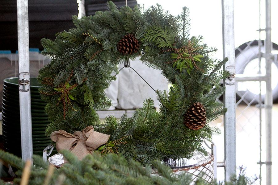 One of the many fresh wreaths made by FFA.