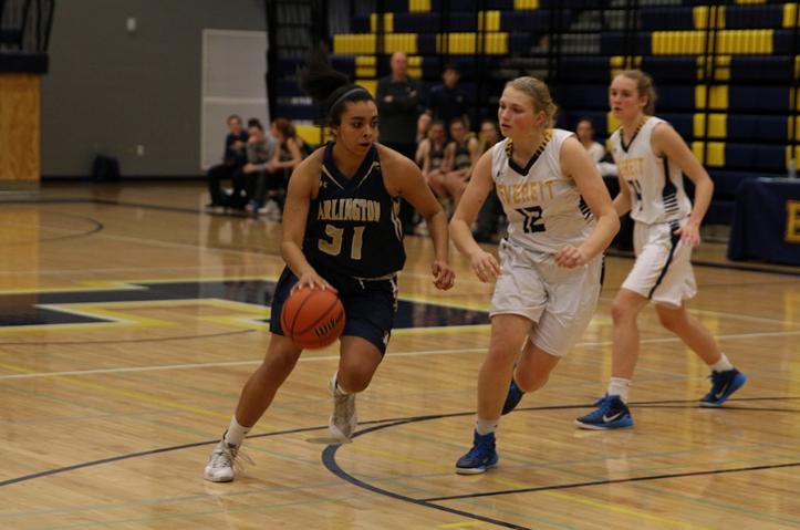 Senior Jayla Russ drives to the basket against Everett on February 5th.