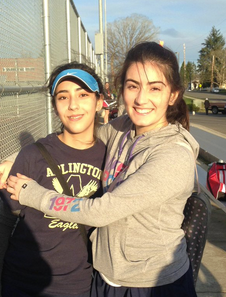 Sisters Layla Garduno-Craviato and Aledia Garduno-Craviato share a hug after Fridays win against Snohomish.