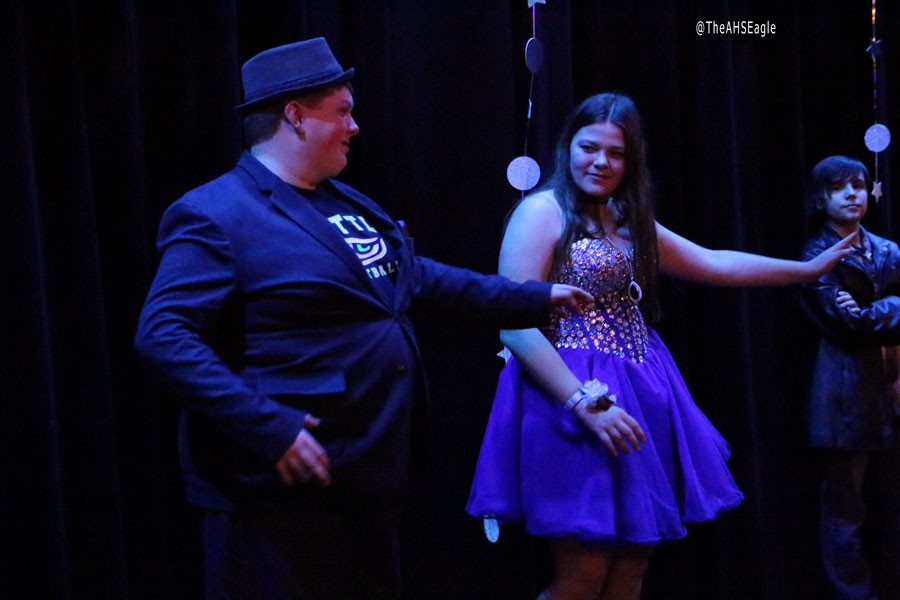 Dakota Stuart (16) and Hannah Olson (17) dance at the Unified Prom, put on by the Respect Club and Life Skills.