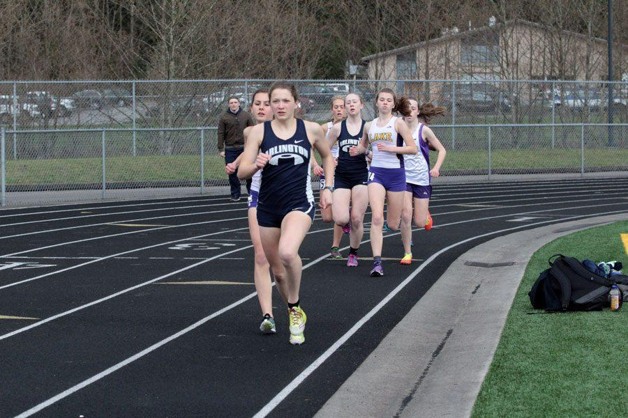 Marie Gaudin (16) competes in a track event on March 24th.