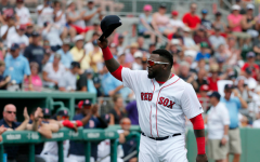 Red Sox' Designated Hitter David Ortiz tips his cap to just a few members of Red Sox Nation.