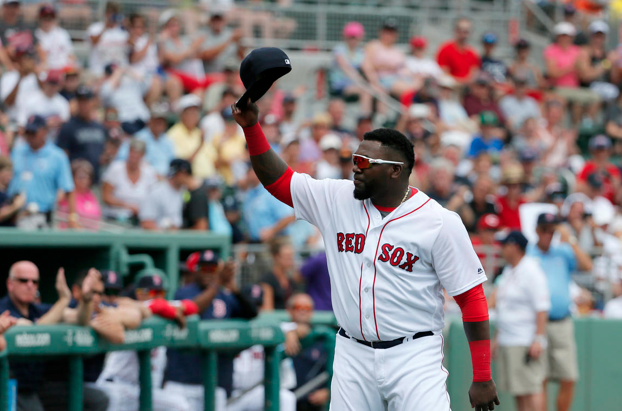 Red Sox Designated Hitter David Ortiz tips his cap to just a few members of Red Sox Nation.