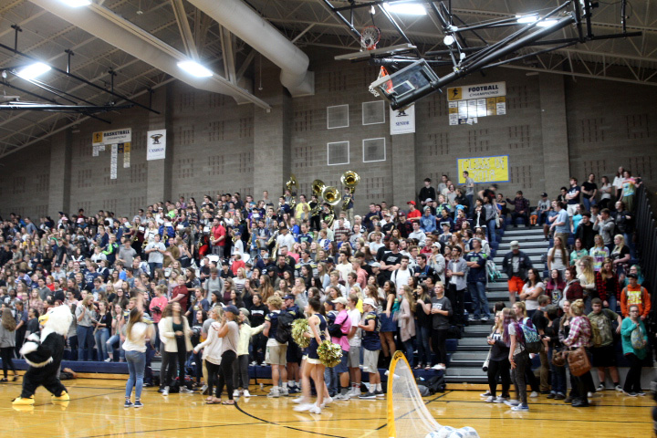 The senior section at the pep assembly on September 8.