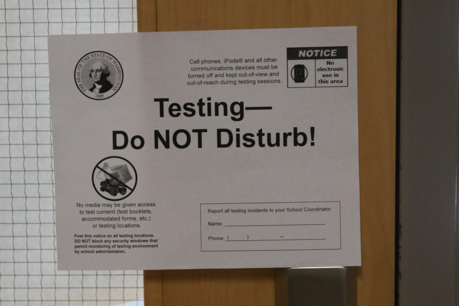 For the next two weeks, there will be these signs hanging on the doors of rooms that are involved in the testing.