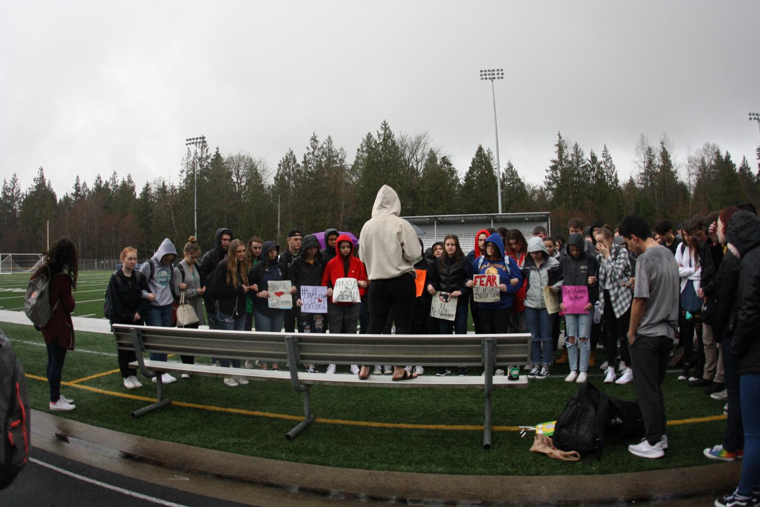 In honor of the Parkland shooting, AHS students walk out on March 14 to take a stand against gun violence in schools.  The student body also protests against all other school shootings, including Columbine.