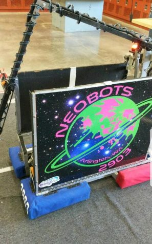 This is the front view of Berg, the Neobot's robot. The Neobot's have a huge logo so that everyone at Girl's Competition knows whose robot it is!