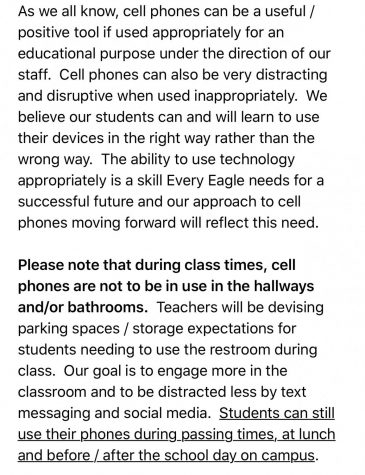 I found this letter in my email that I received from principal Mr. Fish explaining the new cellphone policy.