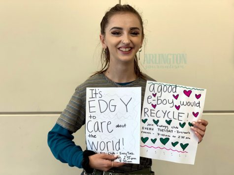 "Ivy Ewing, a senior at Arlington Highschool plays many roles at AHS, but one she's most passionate about is Ecology Club. As president, she is dedicated to helping the environment and wants you to be involved alongside her. When it comes to the environment on a global scale Ewing says, ""We set examples for other countries, if the U.S. doesn't care than others won't care."""