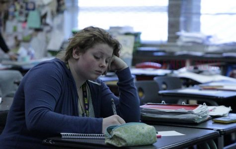 Student Audrey Curdy-Conlon(11) stays for lunch to study.
