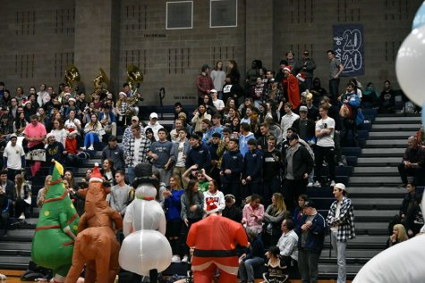 Senior student section at the 2019 Winter Assembly.