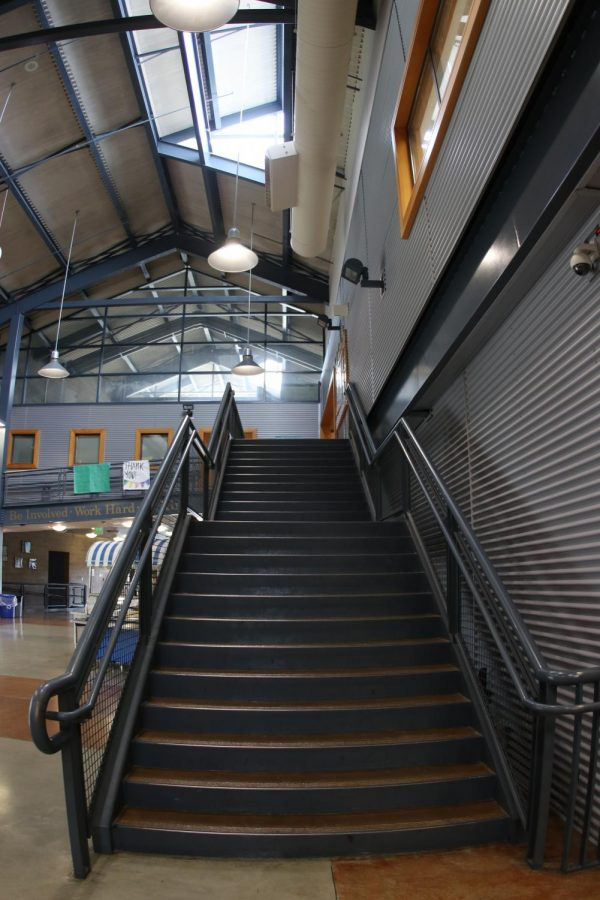 The stairs heading up to the Counseling Center and the B wing.
