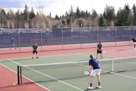 Tyler Uffens and Cadyn Sava up against Lakewood on court four.