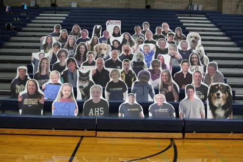 "The Boosterclub created a fundraiser for families to support their athletes! The ""Eagle Fan Cutouts"" are in the stands every home game for our girls volleyball team."